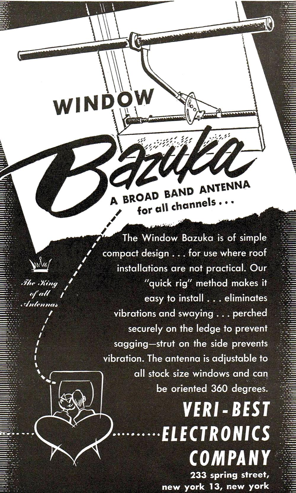 2261 Tv Antenna Booster Circuit Diagram On Amplifier Wiring Advertisement For Veri Best Electronics Company Window Bazuka Television